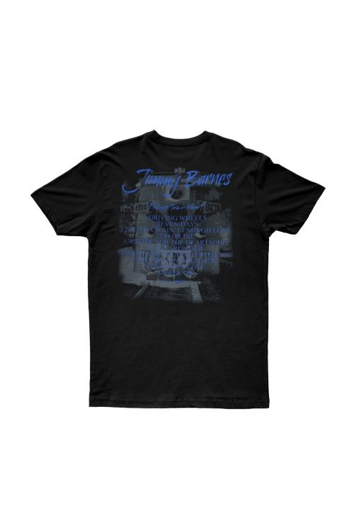 Black 'Freight Train Heart' T-shirt by Jimmy Barnes